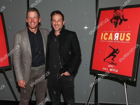 """Lance Armstrong, Bryan Fogel. Lance Armstrong, left, and Bryan Fogel, right, attend a special screening of Netflix's """"Icarus"""" at 1 Hotel Brooklyn Bridge, in New York"""
