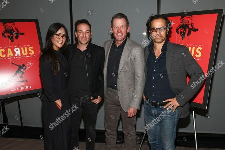 "Lisa Nishimura, Bryan Fogel, Lance Armstrong, Dan Cogan. Lisa Nishimura, from left, Bryan Fogel, Lance Armstrong and Dan Cogan attend a special screening of Netflix's ""Icarus"" at 1 Hotel Brooklyn Bridge, in New York"