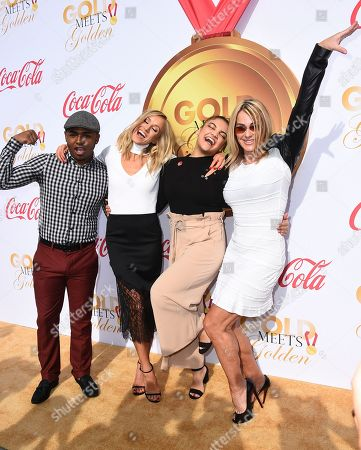 Stock Image of John Orozco, Nastia Liukin, Laurie Hernandez, Nadia Comaneci. From left, John Orozco, Nastia Liukin, Laurie Hernandez and Nadia Comaneci arrive at the 5th Annual Gold Meets Golden event on in Los Angeles