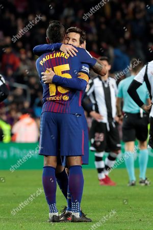 Stock Image of FC Barcelona's Brazilian midfielder Jose Paulo Bezerra 'Paulinho' (L) celebrates with his teammate Leo Messi after scoring against Levante during their Spanish Primera Division league match at Camp Nou stadium, in Barcelona, Spain, 07 January 2018. FC Barcelona won 3-0.