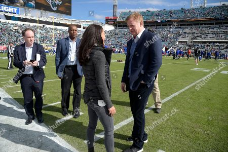 Roger Goodell, Tracy Wolfson. Commissioner Roger Goodell, right, chats with CBS Sports sideline reporter Tracy Wolfson on the sideline before an NFL wild-card playoff football game between the Jacksonville Jaguars and the Buffalo Bills, in Jacksonville, Fla