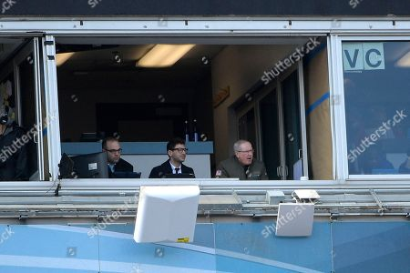 David Caldwell, Tony Khan, Tom Coughlin. Jacksonville Jaguars general manager David Caldwell, left, senior vice president of football technology and analytics Tony Khan, center, and executive vice president of football operations Tom Coughlin watch from a stadium suite during the first half of an NFL wild-card playoff football game against the Buffalo Bills, in Jacksonville, Fla