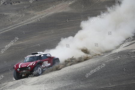 Finnish driver Mikko Hirvonen and his German copilot Andreas Schulz, of team Mini, during the second stage of the Rally Dakar 2018, in Pisco, Peru, 07 January 2018. The second stage of the Dakar 2018 consists of a 279 kilometers itinerary with departure and arrival in Pisco.