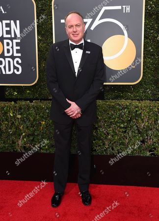 Tom McGrath arrives at the 75th annual Golden Globe Awards at the Beverly Hilton Hotel, in Beverly Hills, Calif
