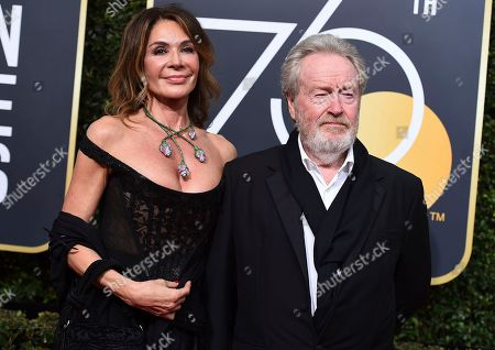 Giannina Facio, Ridley Scott. Giannina Facio, left, and Ridley Scott arrive at the 75th annual Golden Globe Awards at the Beverly Hilton Hotel, in Beverly Hills, Calif