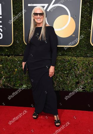 Jane Campion arrives at the 75th annual Golden Globe Awards at the Beverly Hilton Hotel, in Beverly Hills, Calif