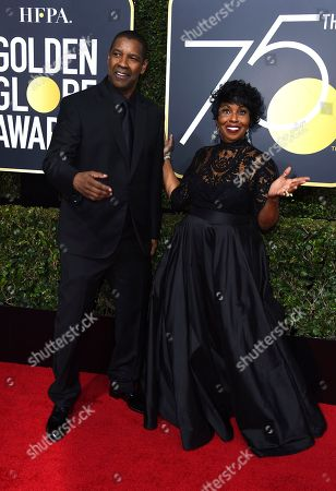 Denzel Washington, Pauletta Washington. Denzel Washington, left, and Pauletta Washington arrive at the 75th annual Golden Globe Awards at the Beverly Hilton Hotel, in Beverly Hills, Calif