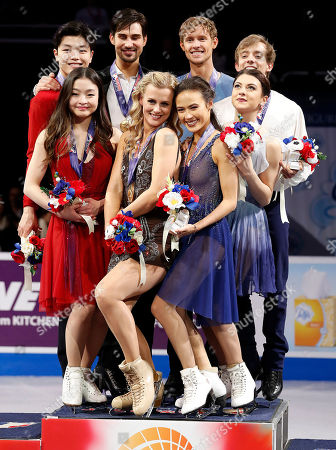 Madison Hubbell, Zachary Donahue, Maia Shibutani, Alex Shibutani, Madison Chock, Evan Bates, Kaitlin Hawayek, Jean-Luc Baker. Madison Hubbell and Zachary Donahue, second couple from bottom and top left, pose after winning the free dance event between Maia Shibutani and Alex Shibutani, left, who finished second, Madison Chock and Evan Bates, second from right who finished third, and Kaitlin Hawayek and Jean-Luc Baker, who finished fourth, at the U.S. Figure Skating Championships in San Jose, Calif