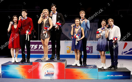 Madison Hubbell, Zachary Donahue, Maia Shibutani, Alex Shibutani, Madison Chock, Evan Bates, Kaitlin Hawayek, Jean-Luc Baker. Madison Hubbell and Zachary Donahue, second couple from left, pose after winning the free dance event between Maia Shibutani and Alex Shibutani, left, who finished second, Madison Chock and Evan Bates, second from right who finished third, and Kaitlin Hawayek and Jean-Luc Baker, who finished fourth, at the U.S. Figure Skating Championships in San Jose, Calif