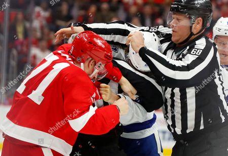 Editorial image of Lightning Red Wings Hockey, Detroit, USA - 07 Jan 2018