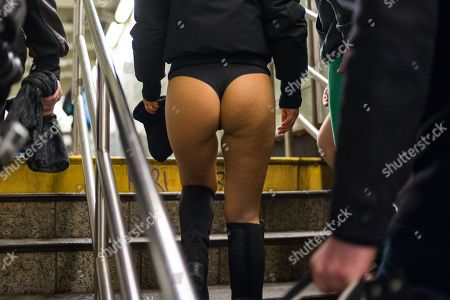 Asa Akira participates in the annual No Pants Subway Ride in New York City hosted by Improv Everywhere on Jan. 7, 2018