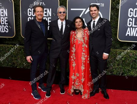Barry Adelman, Allen Shapiro, Meher Tatna, Michael Mahan. Barry Adelman, from left, Allen Shapiro, HFPA President Meher Tatna, and Michael Mahan arrive at the 75th annual Golden Globe Awards at the Beverly Hilton Hotel, in Beverly Hills, Calif
