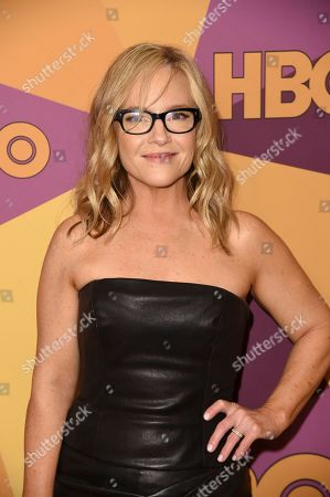 Rachael Harris arrives at the HBO Golden Globes afterparty at the Beverly Hilton Hotel, in Beverly Hills, Calif