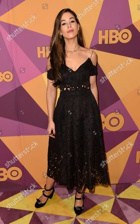 Roxanne McKee arrives at the HBO Golden Globes afterparty at the Beverly Hilton Hotel, in Beverly Hills, Calif