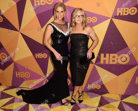 Cheryl Hines, Rachael Harris. Cheryl Hines, left, and Rachael Harris arrive at the HBO Golden Globes afterparty at the Beverly Hilton Hotel, in Beverly Hills, Calif