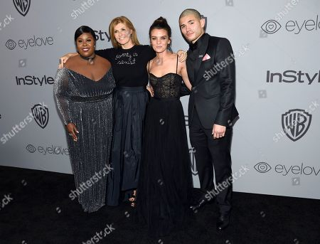 Raven Goodwin, Connie Britton, Frankie Shaw Miguel Gomez. Raven Goodwin, from left, Connie Britton, Frankie Shaw, and Miguel Gomez arrive at the InStyle and Warner Bros. Golden Globes afterparty at the Beverly Hilton Hotel, in Beverly Hills, Calif