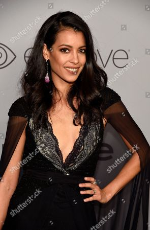 Stephanie Sigman arrives at the InStyle and Warner Bros. Golden Globes afterparty at the Beverly Hilton Hotel, in Beverly Hills, Calif