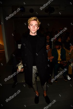 Editorial picture of Alex Mullins show, Front Row, Fall Winter 2018, London Fashion Week Men's, UK - 07 Jan 2018