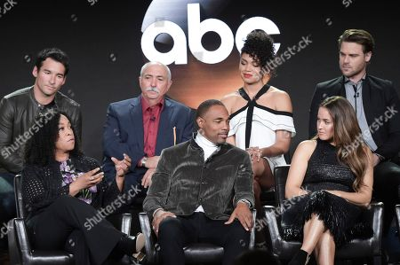 """Shonda Rhimes, Jason George, Jaina Lee Ortiz. Back row from left, Jay Hayden, Miguel Sandoval, Barrett Doss and Grey Damon, front row from left, Shonda Rhimes, Jason George and Jaina Lee Ortiz participate in the """"Grey's Anatomy Spinoff"""" panel during the Disney/ABC Television Critics Association Winter Press Tour, in Pasadena, Calif"""