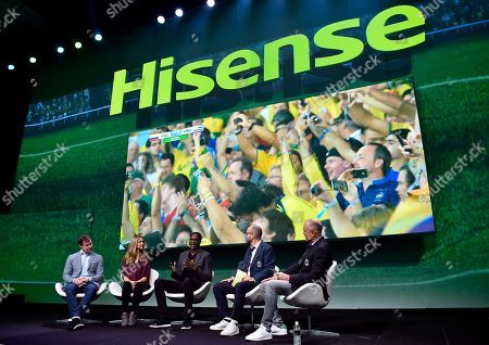Stock Photo of World renowned soccer commentators Roger Bennett and Michael Davies of Men in Blazers chat with U.S. soccer stars Brian McBride and Brandi Chastain, and FOX Phenoms producer Mario Melchiot, at Hisense's 2018 CES Press Conference, in Las Vegas