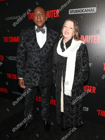"""Colin McFarlane, Kate McFarlane. Colin McFarlane, left, and Kate McFarlane, right, attend the premiere of """"The Commuter"""" at AMC Loews Lincoln Square, in New York"""