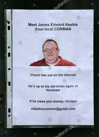 Editorial picture of Alleged Fraudster In Horsham Called James Maxwell Who Has Been Ripping Off Locals While Police Stand Idle Telling Them It Is A 'civil Matter'. One Victim Karen Spencer Made 'wanted' Posters And Put Them Around Horsham Got A Load Of Responses And