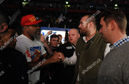 Frank Buglioni V Hosea Burton. Matchroom Boxing Men Arena Manchester - Light-heavyweight Clash Frank Buglioni V Hosea Burton. In The Crowd Heavyweights Tyson Fury And Shannon Briggs Greet One Another.
