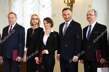 (L-R) New Polish Minister of Environment Henryk Kowalczyk, Minister of Finance Teresa Czerwinska, Minister of Entrepreneurship and Technology Jadwiga Emilewicz, Polish President Andrzej Duda and Minister of Investment and Development Jerzy Kwiecinski during the ceremony of appointing new Ministers at the Presidential Palace in Warsaw, Poland, 09 January 2018.