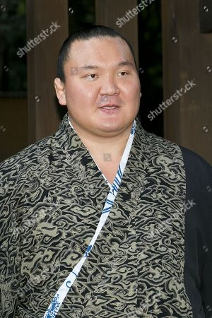 Sumo wrestler Hakuho Sho answers questions from reporters during the Dezuiri, ring-entering ceremony, at the Meiji Shrine, Tokyo, Japan.