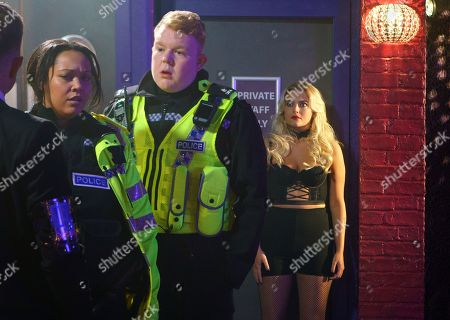 Stock Photo of Ep 9353  Monday 15 January 2018 - 1st Ep Craig Tinker, as played by Colson Smith, and Jess, as played by Donnaleigh Bailey, are called to a disturbance at a lap dancing club. Bethany Platt, as played by Lucy Fallon, in lap dancing gear, is horrified to see Craig.