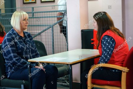 Ep 9353  Monday 15 January 2018 - 1st Ep At the prison Eileen Phelan, as played by Sue Cleaver, struggles to hide her unease as Anna Windass, as played by Debbie Rush, quizzes her about Seb. Anna warns Eileen to watch her back as Phelan will turn on her one day.