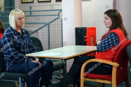 Stock Photo of Ep 9353  Monday 15 January 2018 - 1st Ep At the prison Eileen Phelan, as played by Sue Cleaver, struggles to hide her unease as Anna Windass, as played by Debbie Rush, quizzes her about Seb. Anna warns Eileen to watch her back as Phelan will turn on her one day.