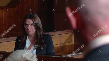 Stock Picture of Ep 9357 Friday 19th January 2018 - 1st Ep Anna Windass, as played by Debbie Rush, trial begins and Phelan, as played by Connor McIntyre, is called as the first witness. Lying through his teeth Phelan paints Anna to be the villain, making out she pushed Seb off his ladder.