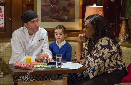 Stock Photo of Ep 8053 Thursday 25th January 2018 - 2nd Ep Marlon Dingle, as played by Mark Charnock, has an awkward tutoring session with Jessie, as played by Sandra Marvin, and April Windsor, as played by Ameila Flanagan.