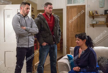 Ep 8043 Monday 15th January 2018  Moira Dingle, as played by Natalie J Robb, unable to live with the guilt, confesses to Ross Barton, as played by Mike Parr, she murdered Emma. In his anger, he pins her violently to the wall but Pete Barton, as played by Anthony Quinlan, arrives and stops him. How will Pete react when he learns the truth?