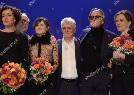 German actress and director Maria Schrader (L-R), German director Juergen Flimm, German actress Sophie Rois, German actor Henry Huebchen, German singer Marius Mueller-Westernhagen and German actress Martina Gedeck pose during the group picture at the end of the 'B.Z. Culture Award' ceremony in the Volksbuehne theater in Berlin, Germany, 09 January 2018. Since 1991, the Berlin tabloid newspaper B.Z. awards this annual prize to personalities that contributed to excellence for cultural and artistic diversity in the German capital.