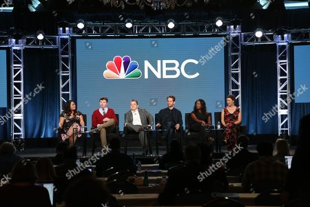 """Stock Image of Mary Sohn, Patton Oswalt, Mike O'Brien, Glenn Howerton, Lyric Lewis, Jean Villepique. Mary Sohn, Patton Oswalt, Mike O'Brien, Glenn Howerton, Lyric Lewis and Jean Villepique, from left, participate in the """"A.P. Bio"""" panel during the NBCUniversal Television Critics Association Winter Press Tour, in Pasadena, Calif"""