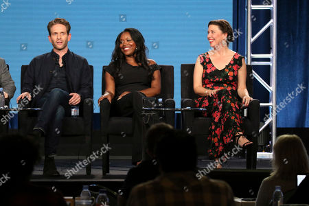 """Glenn Howerton, Lyric Lewis, Jean Villepique. Glenn Howerton, Lyric Lewis and Jean Villepique, from left, participate in the """"A.P. Bio"""" panel during the NBCUniversal Television Critics Association Winter Press Tour, in Pasadena, Calif"""