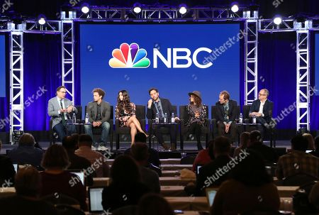 """Stock Picture of Jason Katims, Damon J. Gillespie, Auli'i Cravalho, Josh Radnor, Rosie Perez, Jeffrey Seller, Flody Suarez. Executive Producer Jason Katims, from left, members of the cast Damon J. Gillespie, Auli'i Cravalho, Josh Radnor, Rosie Perez, Executive Producers Jeffrey Seller and Flody Suarez participate in the """"Rise"""" panel during the NBCUniversal Television Critics Association Winter Press Tour, in PAsadena, Calif"""