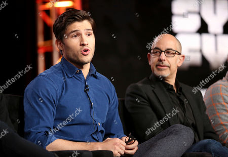 "Cameron Cuffe, left, and David S. Goyer participate in the ""Krypton"" panel during the NBCUniversal Television Critics Association Winter Press Tour, in PAsadena, Calif"