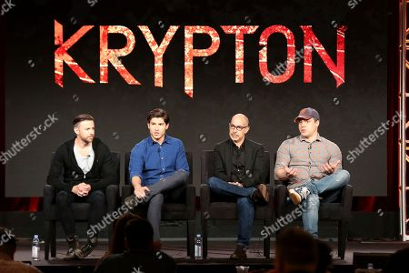 "Cameron Welsh, Cameron Cuffe, David S.Goyer, Geoff Johns. Executive Producer Cameron Welsh, from left, member of the cast Cameron Cuffe, Executive Producer David S. Goyer and President and Chief Creative Officer at DC Entertainment Geoff Johns participate in the ""Krypton"" panel during the NBCUniversal Television Critics Association Winter Press Tour, in PAsadena, Calif"