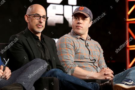 "Cameron Welsh, Cameron Cuffe, David S.Goyer, Geoff Johns. Executive Producer David S. Goyer, left, and President and Chief Creative Officer at DC Entertainment Geoff Johns participate in the ""Krypton"" panel during the NBCUniversal Television Critics Association Winter Press Tour, in PAsadena, Calif"