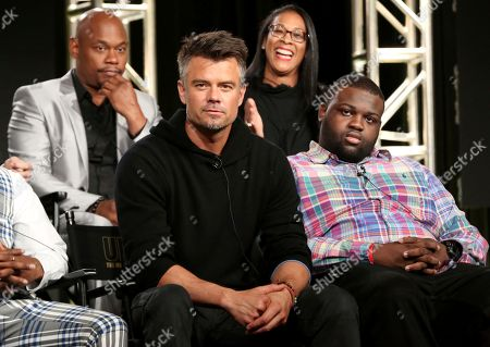 """Bokeem Woodbine, Josh Duhamel, Lyah Beth LeFlore, Wavyy Jonez. Bokeem Woodbine, from left, Josh Duhamel, Lyah Beth LeFlore and Wavyy Jonez participate in the """"Unsolved: The Murders of Tupac and The Notorious B.I.G."""" panel during the NBCUniversal Television Critics Association Winter Press Tour, in PAsadena, Calif"""