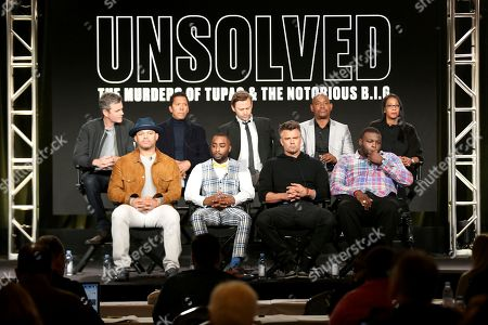 """Anthony Hemingway, Marc Rose, Josh Duhamel, Wavyy Jonez, Kyle Long, Jimmi Simpson, Bokeem Woodbine, Lyah Beth LeFlore. Anthony Hemingway, front row from left, Marc Rose, Josh Duhamel, Wavyy Jonez, back row from left, Kyle Long, Jimmi Simpson, Bokeem Woodbine and Lyah Beth LeFlore participate in the """"Unsolved: The Murders of Tupac and The Notorious B.I.G."""" panel during the NBCUniversal Television Critics Association Winter Press Tour, in PAsadena, Calif"""