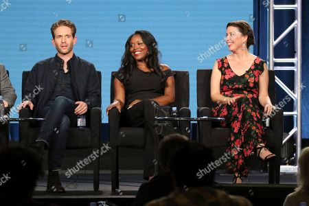 """Glenn Howerton, Lyric Lewis, Jean Villepique. Glenn Howerton, from left, and Lyric Lewis and Jean Villepique participate in the """"A.P. Bio"""" panel during the NBCUniversal Television Critics Association Winter Press Tour, in Pasadena, Calif"""