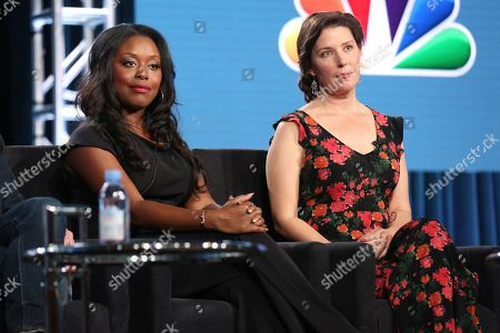 """Lyric Lewis, Jean Villepique. Lyric Lewis, left, and Jean Villepique participate in the """"A.P. Bio"""" panel during the NBCUniversal Television Critics Association Winter Press Tour, in Pasadena, Calif"""