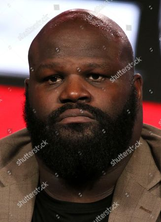 """Mark Henry participates in the """"WWE Monday Night Raw: 25th Anniversary"""" panel during the NBCUniversal Television Critics Association Winter Press Tour, in Pasadena, Calif"""