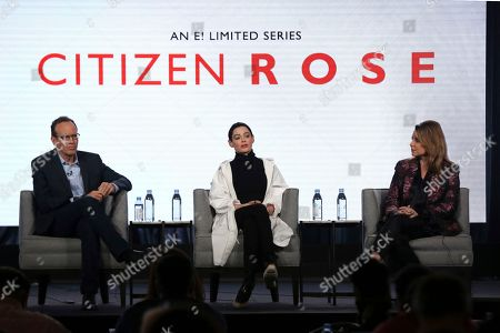 """Jonathan Murray, Rose McGowan, Andrea Metz. Executive Producer Jonathan Murray, from left, Rose McGowan and Executive Producer/Showrunner Andrea Metz participate in the """"Citizen Rose"""" panel during the NBCUniversal Television Critics Association Winter Press Tour, in Pasadena, Calif"""