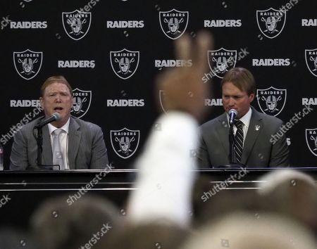 Jon Gruden, Mark Davis and Charles Woodson