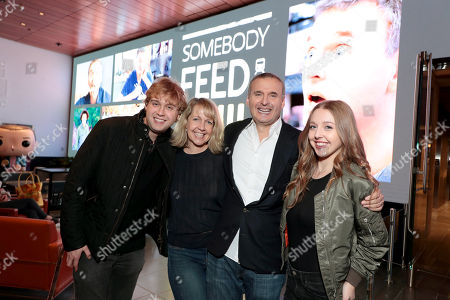 Ben Rosenthal, Monica Horan, Philip Rosenthal and Lily Rosenthal attend a special screening of Somebody Feed Phil in Los Angeles, CA on January 9, 2018